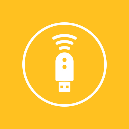 3g: usb modem icon in circle, 3g, 4g, lte modem sign, isolated icon, vector illustration