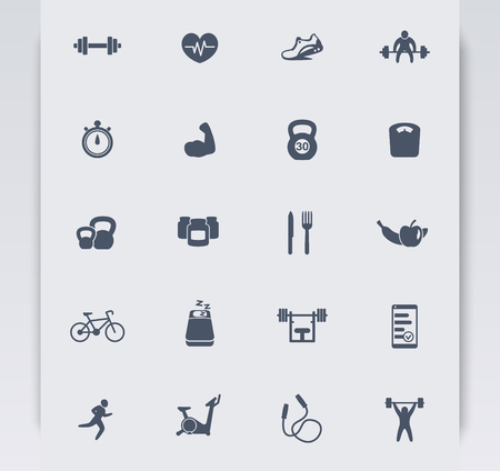 20 fitness icons, active lifestyle, fitness vector icons, gym, sport, workout, training icons, fitness pictograms, vector illustration Imagens - 55826940