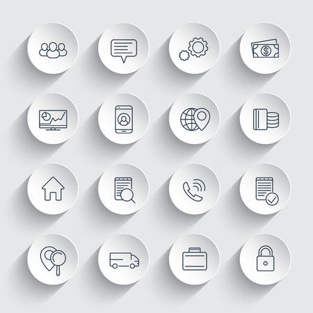 affaires, finance, commerce, icônes de ligne de l'entreprise sur des formes rondes 3d, pictogrammes d'affaires, illustration vectorielle