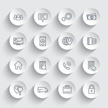 business, finance, commerce, enterprise line icons on round 3d shapes, business pictograms, vector illustration Ilustração