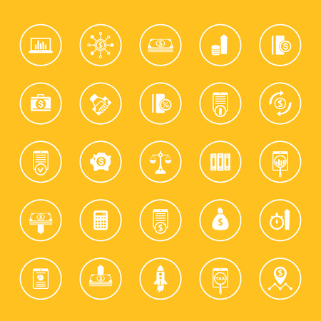 25 finance, investing icons, capital, shares, stocks, investor, funds, investment, income, finance round icons set, vector illustration