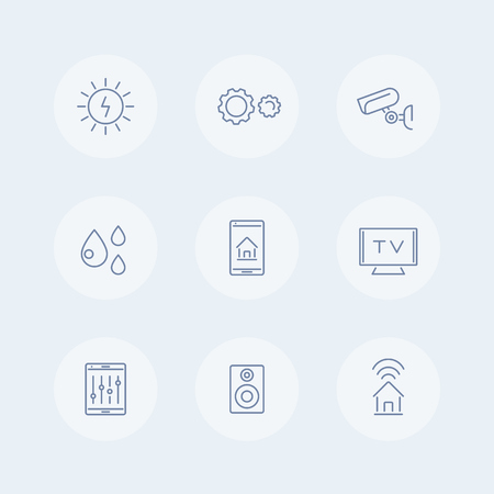 humid: Smart House line icons, smart electronics icons, smart house pictogram, vector illustration