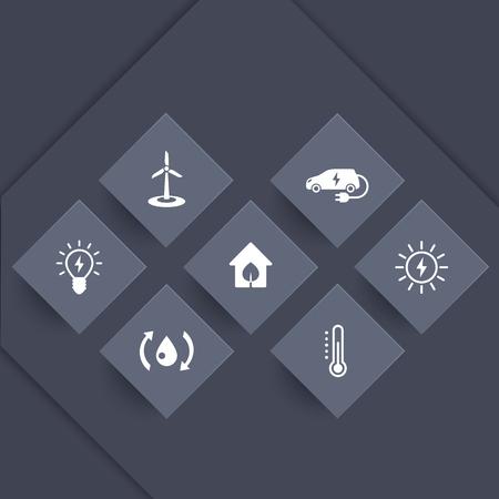 ecologic: Green ecologic house icons, modern, ecofriendly, energy saving technologies, icons on geometric shapes, vector illustration
