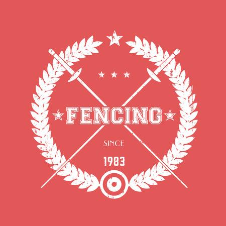 pommel: Fencing vintage emblem, logo with crossed fencing foils, white on red, vector illustration Illustration