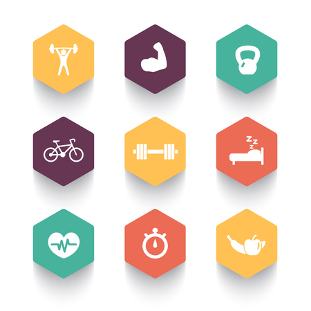 fitness icons, health, gym trendy hexagonal icons, fitness pictograms, vector illustration