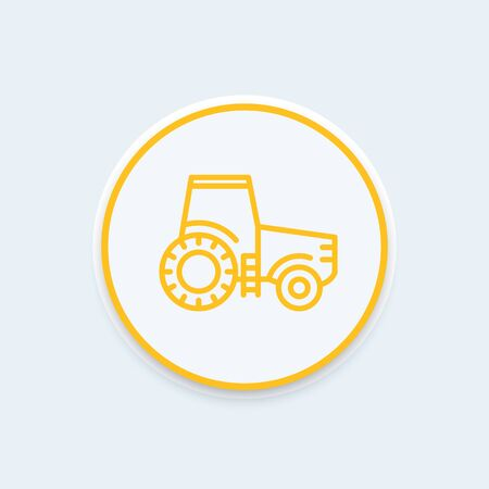 agrimotor: Tractor line icon, agrimotor vector, engineering vehicle, farm tractor round icon, vector illustration