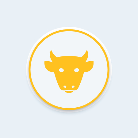 cattle icon, cattle farm pictogram, cow head front view, cattle ranch round icon, sign, vector illustration