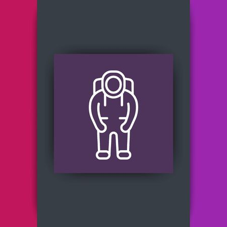 outer clothing: Astronaut line icon on square, space suit icon, astronaut pictogram, vector illustration Illustration