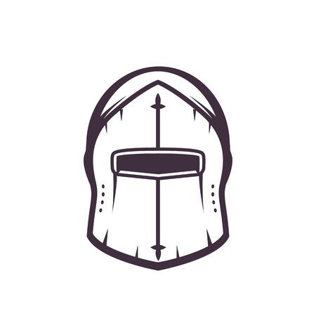 templar: medieval helmet isolated on white, vector illustration