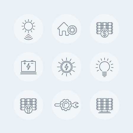 panels: Solar energy line icons, solar panel icon, solar power, panels, plant, round isolated icons, vector illustration