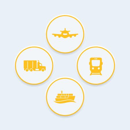 lading: transportation industry icons, rail freight transport vector, cargo ship, air transport, cargo truck icon, transportation symbols, round icons, vector illustration