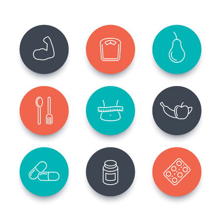 supplements: Diet, nutrition, supplements line round icons on white, diet pictograms, vector illustration