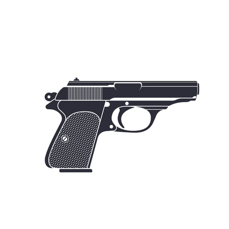 handgun: classic pistol, gun silhouette, pistol illustration, world war 2 german pistol, handgun, vector illustration