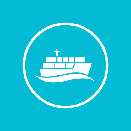 lading: container ship icon, transportation, cargo ship, maritime transport, isolated icon in circle, vector illustration