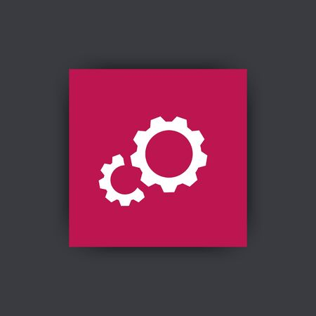 config: Gear icon, gears sign, gears vector, gears logo element, gears pictogram, gear wheel, gears icon on square, vector illustration