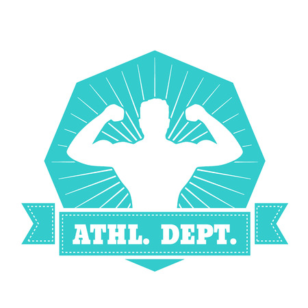 dept: Athletic dept. emblem, t-shirt design with posing athlete isolated on white, vector illustration Illustration