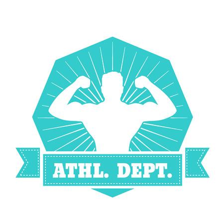 dept: Athletic dept. emblem, t-shirt design with posing athlete isolated on white, vector illustration Illustration