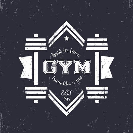 Grunge vintage gym logo, logotype with barbells, vintage gym t-shirt print, vector illustration