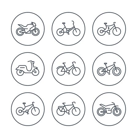 Bikes line icons, bicycle icon, bike, cycling, motorcycle, motorbike, fat bike, scooter, retro bike, electric bike, isolated icons, vector illustration Illustration
