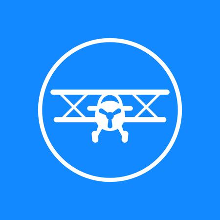 biplane: Biplane vector icon, biplane, aircraft, plane, airplane icon isolated on blue, vector illustration