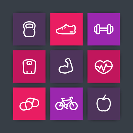 robust: Fitness thick line icons, healthy lifestyle square icons, training, workout, biceps linear icon, vector illustration