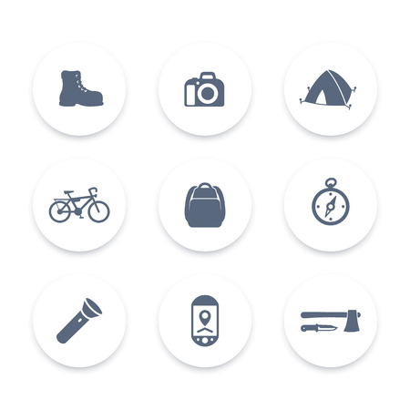 hiking boot: Hiking, Camping round icons, backpack, flashlight, tent, hiking boot icon, vector illustration