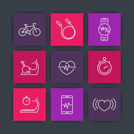 cardio fitness: cardio, fitness, heart training, square line icons, pictograms, vector illustration Illustration