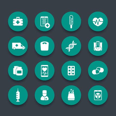 Hospital care: medicine icons, health care, ambulance, hospital, pills, drugs, medicine pictograms, green round icons, vector illustration