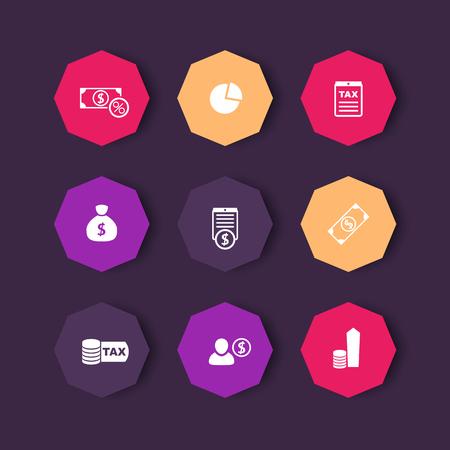 octagonal: tax, finance, money octagonal color icons set, vector illustration