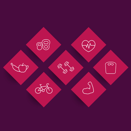 rhombic: line fitness icons on red rhombic shapes, fitness pictograms, symbols, vector illustration Illustration