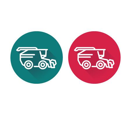 combine harvester: Harvester icon, grain harvester combine, harvester machine flat icons in green and red, vector illustration