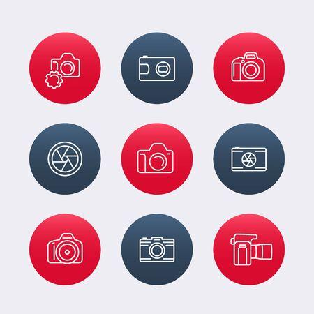 dslr: camera, dslr, diaphragm, round line icons, photography, camera pictogram, vector illustration Illustration