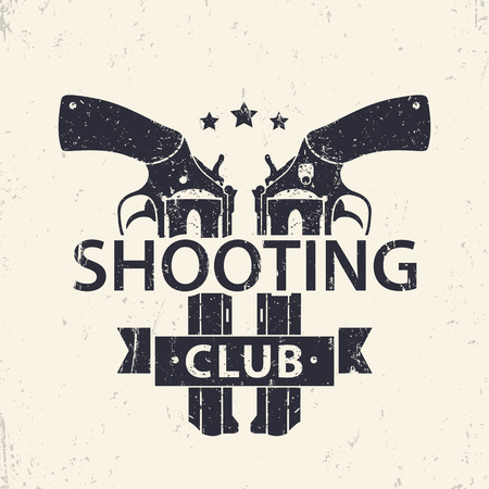 handguns: Shooting Club logo, sign with two crossed revolvers, handguns, vector illustration Illustration