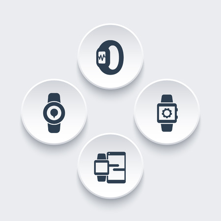 synchronization: Smart watch icons, smartwatch vector, fitness tracker, smart watch data synchronization, wearable technology round icons, vector illustration