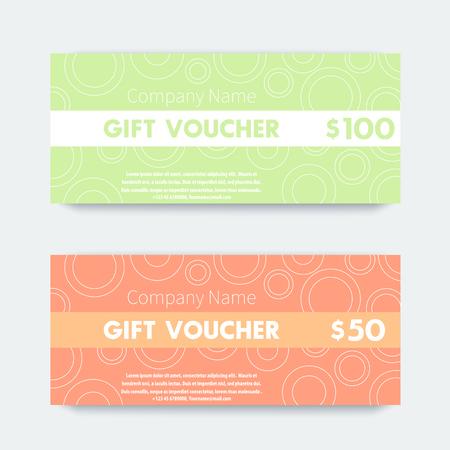 vouchers: Gift voucher design, two gift vouchers in tender colors, vector illustration