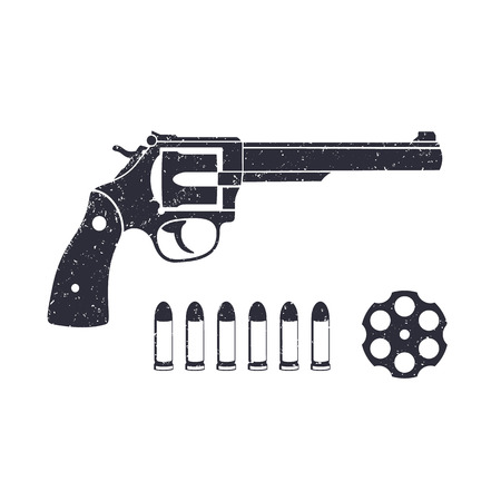 Old revolver, handgun, cylinder of revolver, cartridge, bullets, gun isolated on white, vector illustration