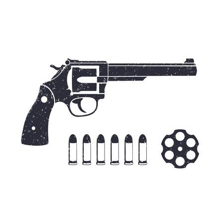 Old revolver, handgun, cylinder of revolver, cartridge, bullets, gun isolated on white, vector illustration