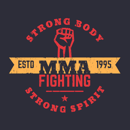 high spirits: MMA Fighting logo, emblem, mma t-shirt design, vintage print, vector illustration Illustration