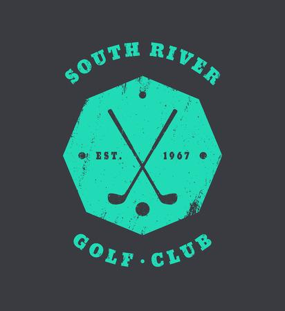 octogonal: Club de golf grunge emblema, logotipo, insignia con palos de golf cruzadas, ilustración vectorial octogonal de la vendimia Vectores