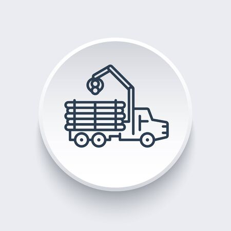 forwarder: Forwarder line icon, lorry, forestry vehicle, logger sign, logging truck round icon, vector illustration Illustration