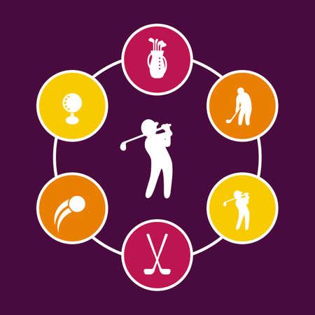 golf bag: Golf round icons, golf clubs, golf player, golfer, golf bag icon, vector illustration