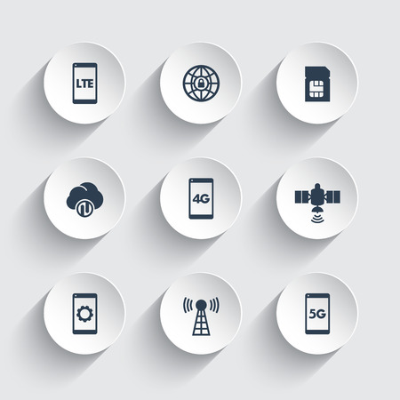 smartphone icon: wireless technology icons, 4g network pictogram, lte icon, mobile communication, connection signs, 4g, 5g mobile internet icons on round 3d shapes, vector illustration