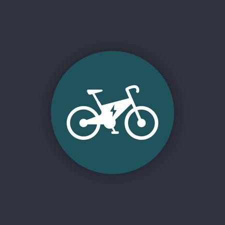 ecologic: Electric bike icon, city ecologic transport, electric bike pictogram, round flat icon, vector illustration