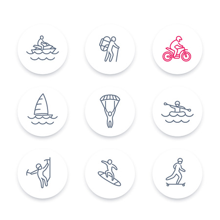 outdoor activities: extreme outdoor activities line icons set, extreme sports, recreation pictograms, round icons, vector illustration