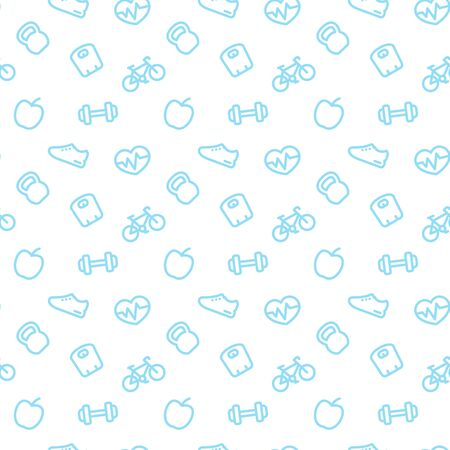 fitness pattern, seamless pattern with blue fitness icons on white, vector illustration Vettoriali