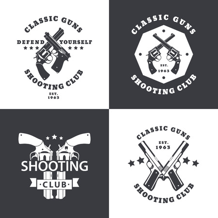 45 gun: Shooting Club, vintage emblems with crossed revolvers, guns, pistols, in black and white, logo with handguns, pistols, vector Illustration