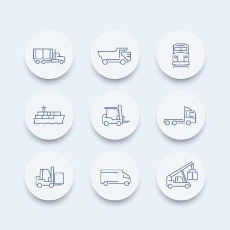 lading: Transportation line icons, forklift, cargo ship, freight train, cargo truck round icon, transportation pictograms, vector illustration