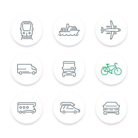 portage: Transport line icons, car, van, bus, train, airplane, ship, round icons set, vector illustration Illustration