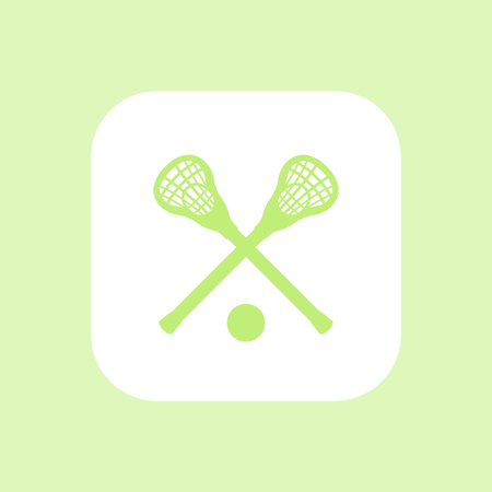 crosse: Lacrosse icon, sign, lacrosse sticks and ball, lacrosse pictogram, rounded square icon, vector illustration
