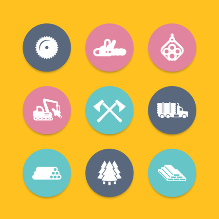 logging: Logging, forestry equipment icons, tree harvester, timber, logging truck, lorry, lumber, logging vehicle round icons, vector illustration